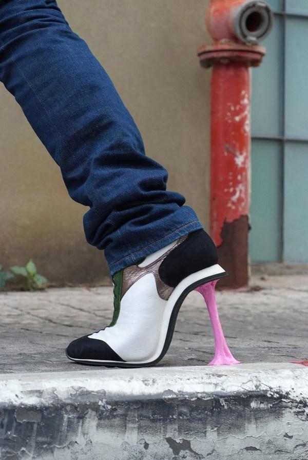 zapatos tacon forma de chicle