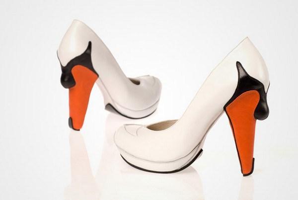 zapatos tacon forma de cisne