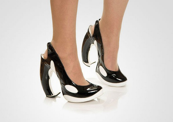 zapatos tacon forma de orca ballena